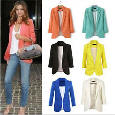 Fashion Women Suit Blazer Jacket Casual OL Slim Solid Coat Outwear Candy Colors