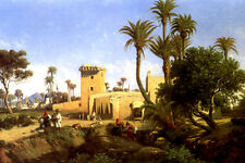MOORISH BUILDINGS AT ELCHE SPAIN PAINTING BY ADOLPHE BALFOURIER REPRO