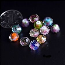 10Pcs Mixed Colours Faceted Rondelle Flower Lampwork Glass Loose Beads 10MM 12MM