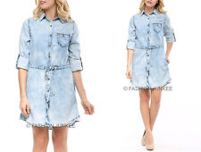 BLUE (98) DRAWSTRING Acid Wash Denim SHIRT DRESS BUTTON UP TOP Chambray S M L