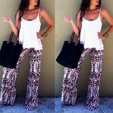 Women Floral Printed Boho High Waist Fold Over Palazzo Baggy Stretch Pants New