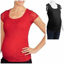 NEW  Planet Motherhood Maternity Lace Tee with Flattering Side Ruching L XL