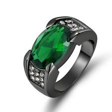 Fashion Sz 8&10 Jewelry Mens Emerald Black Stainless Steel Anniversary Ring Gift