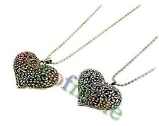Retro Hollow Carved Peach Heart Pendant Sweater Long Chain Necklace