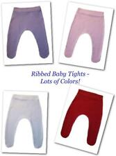 Cotton Knit Ribbed Baby Girl Tights - Lots of Colors - Preemie, Newborn, Toddler