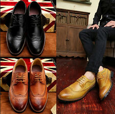 Mens Boys Formal Lace-up Leisure Brogue Business Shoes  Retro Leather Deep Mouth