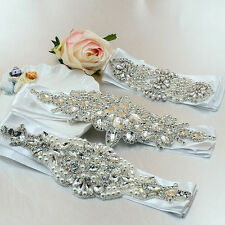 Crystal Rhinestone Waistband Beaded Belt Wedding Bridal Dress Sash Hair Headband