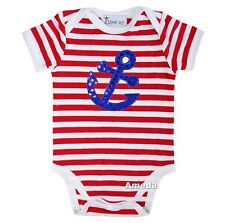 Baby Red White Stripes Anchor 4th July Boy Girl Bodysuit Romper 0-12M