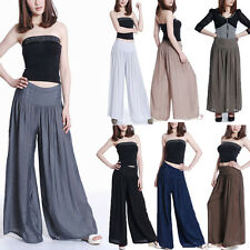 Sexy Women Casual Summer Palazzo High Waist Career Wide Leg Trousers Loose Pants