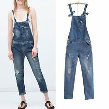 New Womens Ladies Washed Casual Denim Jumpsuit Overall Pants Trousers Jeans