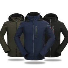 Mens Soft Shell Windbreaker Jackets Solid Single Coats Athletic Water-resistant