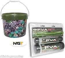 CARP FISHING TACKLE PVA  PACK - 2 MESH TUBES + PLUNGER + 10L CAMO BAIT BUCKET