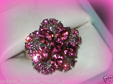 VINTAGE STYLE ROSE PINK CRYSTAL SILVER FLOWER GIFT RING~ADJUSTABLE SZ 7/8/9
