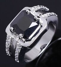 Fashion Size 8,9,10,11 Man Emerald Cut Black Sapphire 10KT Gold Filled Ring Gift
