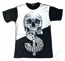 KONFLIC MONEY SKULL WITH GRILL T SHIRT  TIME IS MONEY CASH IS KING URBAN WEAR