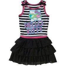 New Hello Kitty Girls' Ruffle Dress Sleeveless Chiffon Skirt Black White M L