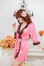 Sexy Women Night Bath Robe Dress Ladies Lingerie Sleepwear Satin Nightwear Gown