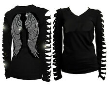 New Angel Wings Rhinestone Shirt with Ripped Slit Cut Out T-Shirt S,M,L,1X,2X,3X