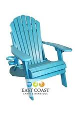 New Deluxe Outer Banks Poly Wood Folding Adirondack Chair with Cup Holder