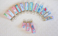 Preppy Keyring Key Chain w/ Lilly Pulitzer Fabric 3sizes Pinks and Blues