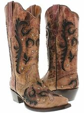 women's overlay studded pink black leather western cowboy boots cowgirl rodeo