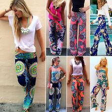 2015 New Womens Casual Hippie Straight Leg Long Pants Palazzo Trousers Boho Yoga
