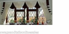 """SWAGS AND TAILS + CURTAIN SETS FITS WINDOWS 106"""" to 130"""" (269-330cm)W X 89"""" DROP"""