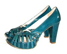 PAOLO IANTORNO Italy TURQUOISE Patent Leather Strappy Platform Pump High Heel 36
