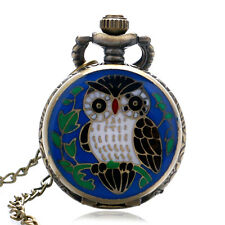 Cute Night Owl Quartz Pocket Watch Vintage Necklace Sweater Pendant Xmas Gift