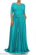 PLUS TURQUOISE Stretch Jersey FULL SWEEP X-Long Skirt MAXI DRESS Pocket 1X 2X 3X