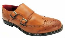 Giovanni Wk0208a2 Men's Tan Brown Two Buckle Monk Style Wingtip Brogues New