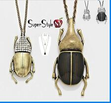 Money Luck Insect Scarab Crystal WingsPendant Chain Long Necklace Earrings Bug