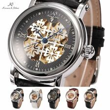 Stylish KS Skeleton Dial Automatic Mechanical Leather Ladies Men's Wrist Watch