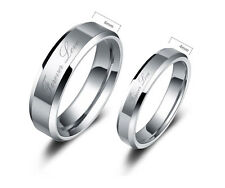 Tungsten Carbide Women or Mens Wedding Engagement Ring Band Set Forever Love M7