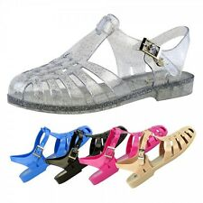 S423 - Ladies Flat Retro Jelly Sling-Back Beach Sandals Shoes - UK 3 - 8