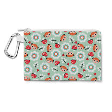 Pastel Woodland Canvas Zip Pouch - Pencil Case Multi Purpose Makeup Bag