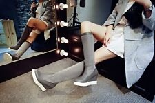 Womens Hidden Wedge Middle Heel Suede stitching Chelsea Knee High boots