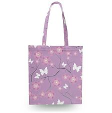 Butterflies on Purple Canvas Tote Bag - 16x16 inch Book Gym Bag Optional Zip