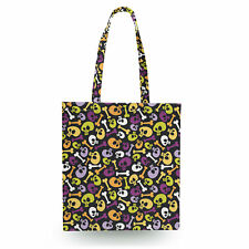 Cartoon Halloween Skulls Canvas Tote Bag - 16x16 inch Book Gym Bag Optional Zip