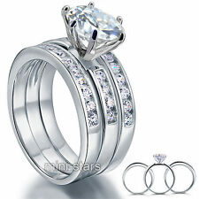 925 Sterling Silver 3-Pcs Engagement Ring Set Round Cut Created Diamond FR8101
