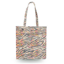 Silver Zebra Glam Canvas Tote Bag - 16x16 inch Book Gym Bag Optional Zip
