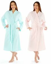 Ladies Embroidered Soft Fleece Dressing Gown Wrap Robe MED25 Aqua Pink