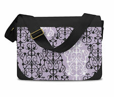 Black & White Damask Messenger Bag - Laptop School Shoulder Bag