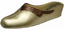 WEDGE LEATHER SPANISH SLIPPERS 2 TONE PLATINUM PEWTER FOOTLOOSE BY RELAX COMFORT