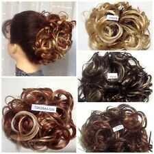 """KATIE 7""""  BIG CURLY updo SCRUNCHIE Mona Lisa CHOICE of  13 UNUSUAL COLOR MIXES"""