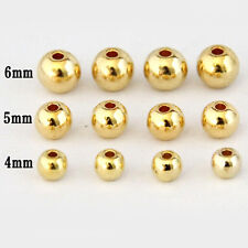 20/50PCS Golden Plated Metal Round Loose Spacer Beads 4/5/6/8mm Jewelry  Fitting