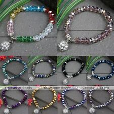 1PC Faceted Crystal Glass Dangle Ball Beads Elastic Bracelet Women Jewelry
