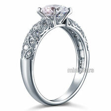 925 Sterling Silver Wedding Engagement Ring Created Diamond FR8108