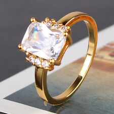Fashion jewellery! Real yellow gold fill Engagement white sapphire ring Sz5-Sz9