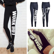 New Womens WORK OUT/Gun  Letters Printed Slim Gym Legging Soft Jogging Pants